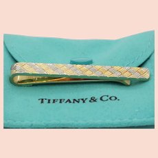 Vintage Tiffany and Co. Diagonally Checkered 18K Yellow White Gold Money Clip