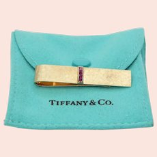 Vintage Tiffany and Co. 14K Yellow Gold Rubies Cross Brushed Finish Money Clip