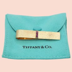 Vintage Tiffany and Co. 18K Yellow Gold Rubies Cross Brushed Finish Money Clip
