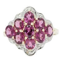 Vintage 10K Yellow Gold Diamond Amethyst Cluster Ring