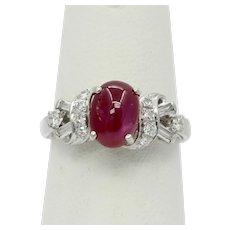 Vintage Platinum Diamond Star Ruby Ring