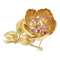 Vintage Italian 18K Yellow Gold Diamond Ruby Floral Brooch