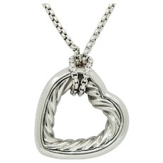 Vintage David Yurman 925 18K Cable Open Heart Pendant Necklace