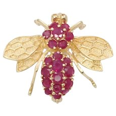 Cute Vintage 14K Yellow Gold Ruby Bumble Bee Brooch