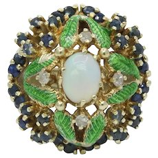 Vintage Cluster Ring 14K Yellow Gold Opal Sapphires Diamonds