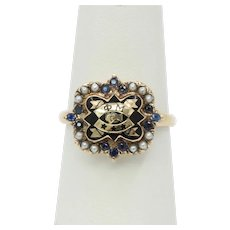Vintage 14K Yellow Gold Phi Mu Sorority Badge Sapphire Seed Pearl Ring