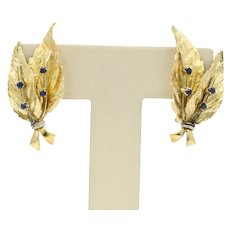 Vintage 18K Yellow Gold Sapphire Leaf Earrings