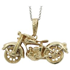 Vintage 14K Yellow Gold Motorcycle Pendant