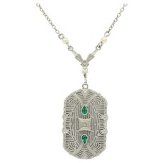 Art Deco 14K White Gold Emerald Diamond Filigree Pendant