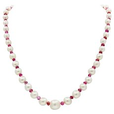 GIA Natural Pearls Rubies 18K White Yellow Gold Necklace