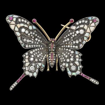 Beautiful Vintage Butterfly Brooch 14K Sterling Silver Diamonds Rubies Opals