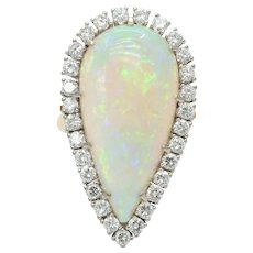 Vintage 18K Yellow Gold Giant Opal Diamond Statement Ring