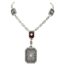 Art Deco Platinum 14K White Gold Crystal Diamonds Necklace Pendant