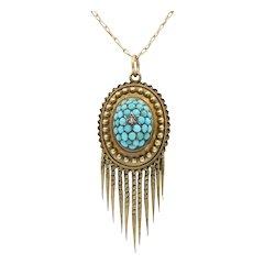 Victorian 14K 10K Yellow Gold Turquoise Diamond Chain Pendant