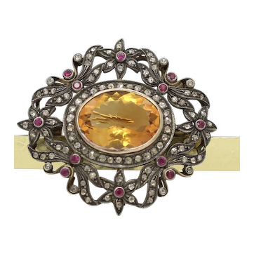 Victorian Revival 18K 14K 925 Citrine Diamonds Rubies Brooch Pendant