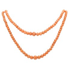 Victorian Coral Double Strand Necklace