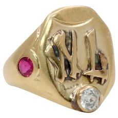 Vintage 14K Yellow Gold Diamond Ruby Insignia Ring