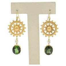 Victorian Revival Tourmaline Diamond Sunflower Earrings