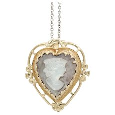 Vintage 14K Yellow Gold Shell Cameo Heart Pendant