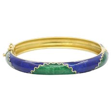 Vintage 18K Yellow Gold Enamel Bangle