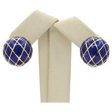 David Webb Blue Enamel Clip-On Earrings in 18 Karat Yellow Gold