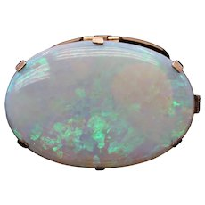 Victorian Huge Opal 9K Yellow Gold Pendant