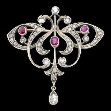 Edwardian 18K & Silver Diamond Ruby Brooch