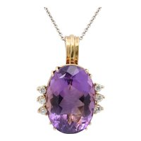 Vintage Ladies Amethyst Diamonds 14K Yellow Gold Pendant