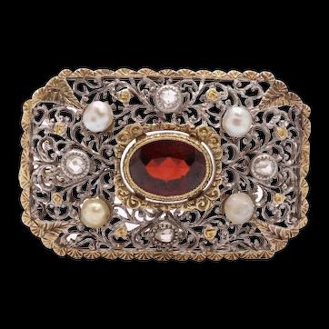 Victorian Garnet Old Mine Diamonds 18K White Yellow Gold Pearls Brooch Pin