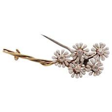 Vintage Diamonds Flowers Enamel 14K Yellow Gold Brooch Pin