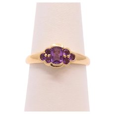 Beautiful Vintage Ladies Amethyst 14K Yellow Gold Ring