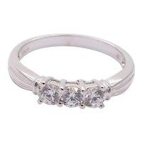 Ladies Vintage Diamonds 10K White Gold Wedding Band