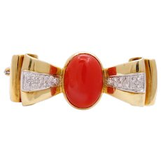 Vintage Red Coral Diamonds 18K Yellow White Gold Brooch Pin
