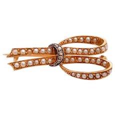 Victorian Ribbon 18K Yellow White Gold Diamonds Seed Pearls Brooch Pin