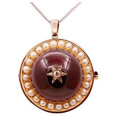Victorian Huge Garnet Diamonds Pearls 18K Yellow Rose Gold Pendant Brooch Pin