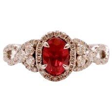Elegant Crossover Ruby Diamonds Engagement Ring