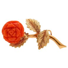 Italian Vintage Rose Red Coral 18K Yellow Gold Brooch Pin