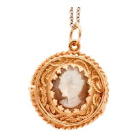 Beautiful Vintage Mother Of Pearl 14K Yellow Gold Locket Pendant