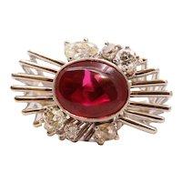 Beautiful Modernist Ladies Ruby Diamonds 14K White Gold Ring