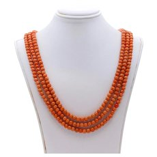 Beautiful Victorian Natural Coral 3 Strand Yellow Gold Vermeil Catch
