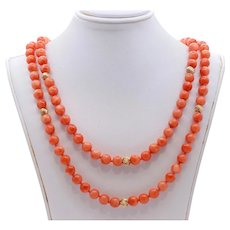 Beautiful Vintage Natural Pink Red Coral 14K Yellow Gold Catch Beads