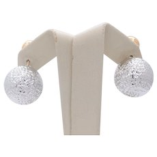 Italian Vintage 14K White Yellow Ball Earrings