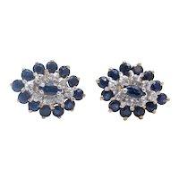 Vintage Ladies Blue Sapphire Diamonds 10K Yellow Gold Cluster Earrings