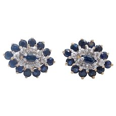 Vintage Ladies Blue Sapphire Diamonds 10K Yellow Gold Cluster Earrings