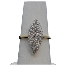 Victorian Navette 18K Yellow White Gold Diamonds Ring