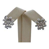 Vintage Flower Diamonds 14K White Gold Earrings