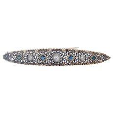 Edwardian 18K Yellow Gold Sterling Silver Diamonds Sapphires Brooch Pin