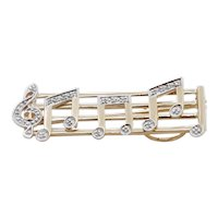 Music Lovers Brooch!! 14K Yellow Gold Diamonds Notes Movable Staff Pin Pendant