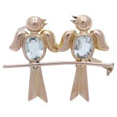 Vintage Lovebirds 18K Rose Gold Aquamarines Brooch Pin