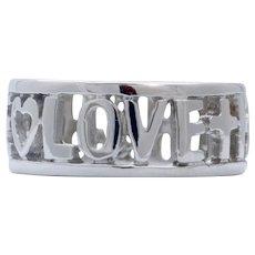Vintage Love Hope Faith 14K White Gold Ring